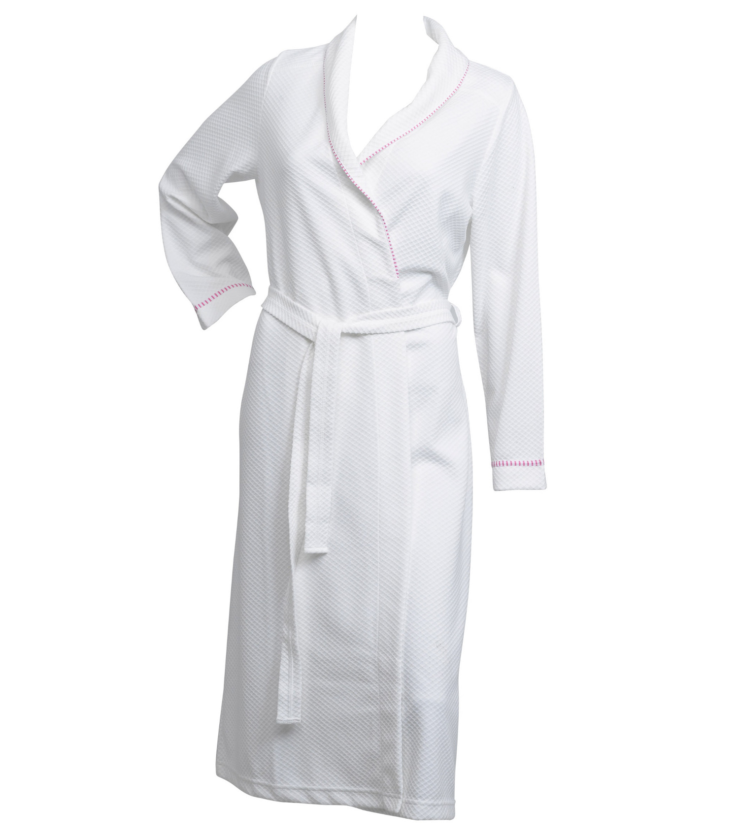 Ladies Lightweight White Waffle Dressing Gown 100% Cotton Striped ...