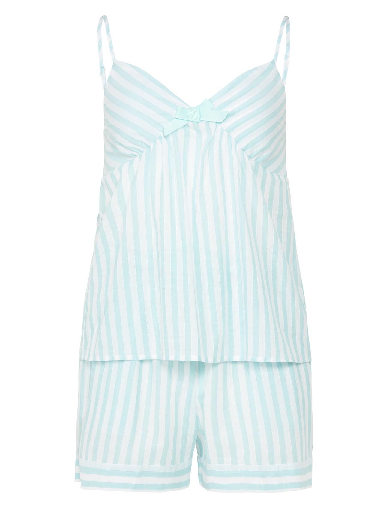 Womens Striped PJs Set Slenderella 100% Cotton Lightweight Cami ...
