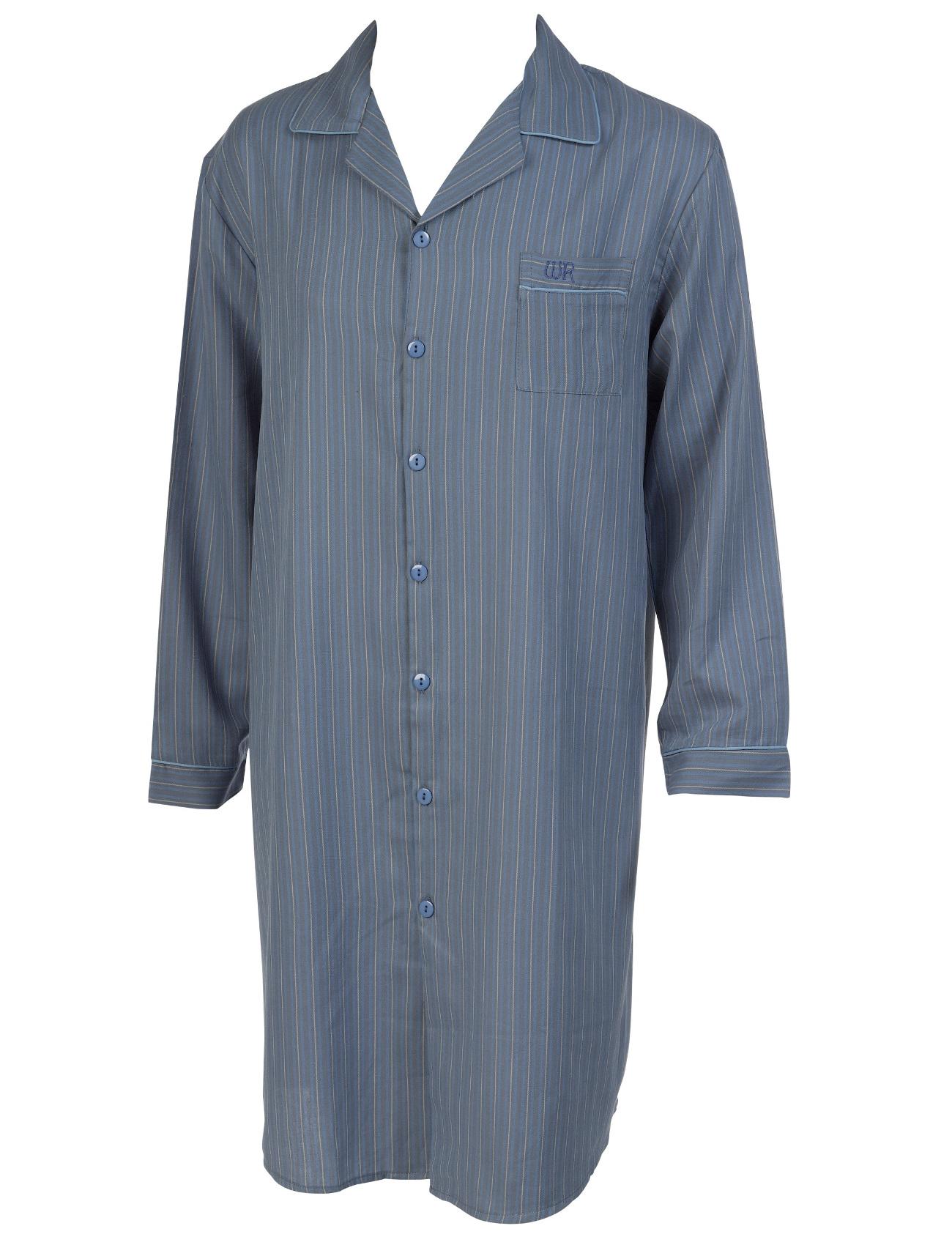 Striped mens night shirt 100 cotton walker reid button up for Striped button up shirt mens