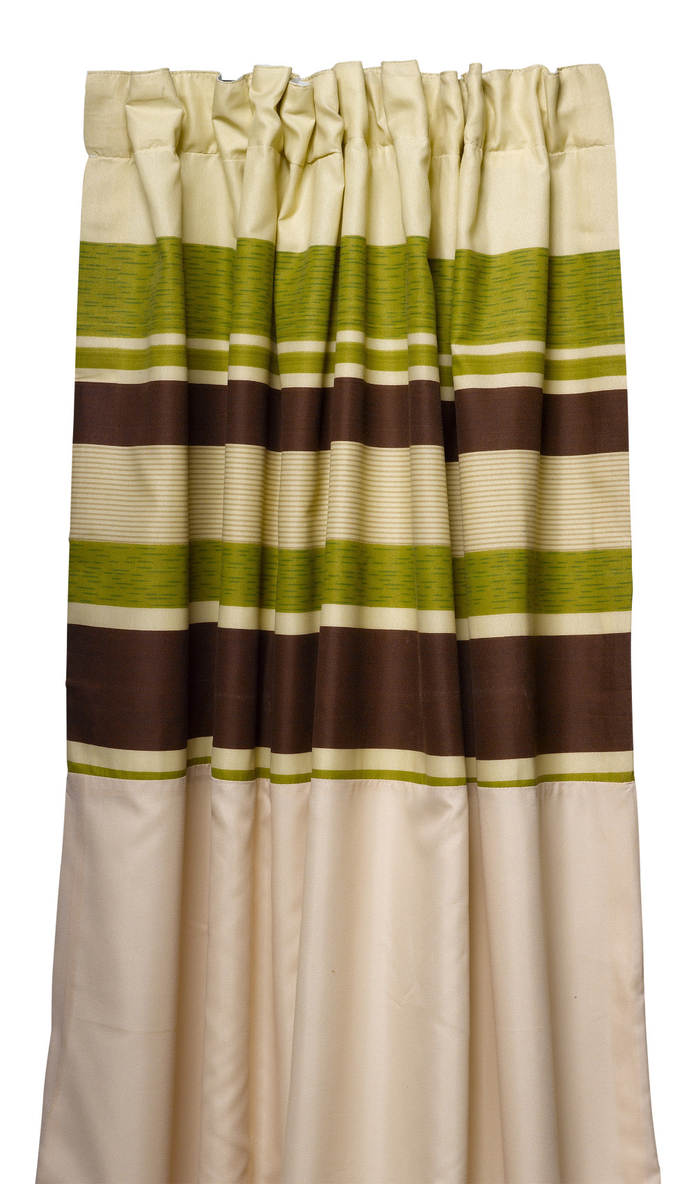 Green Striped Fully Lined Pair Of Curtains Ready