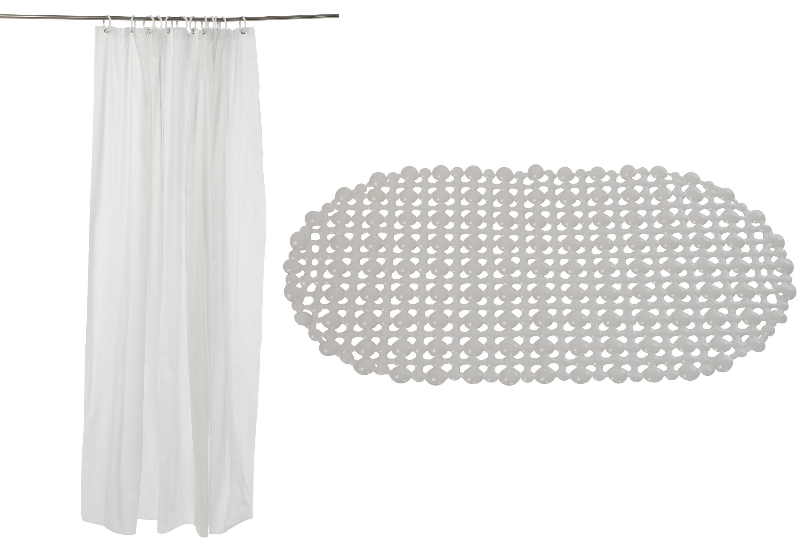 Bath Mat Sets White : White bath mat shower curtain set vinyl easy care