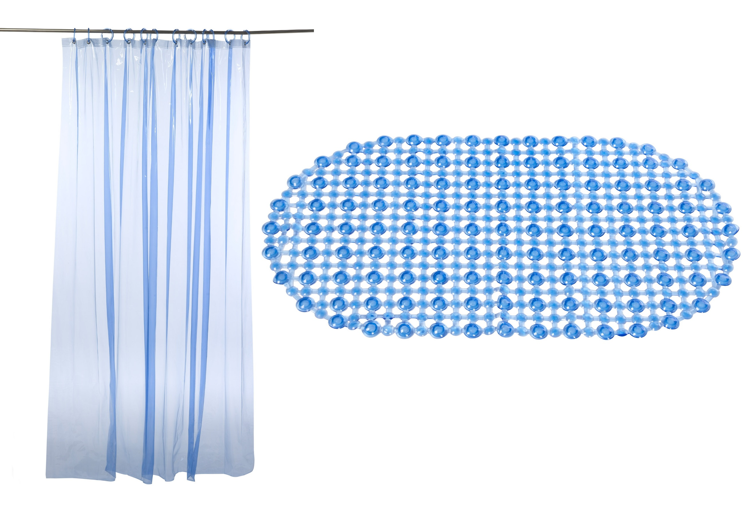 blue bath mat shower curtain set 100 vinyl easy care wipe clean hotel b b ebay. Black Bedroom Furniture Sets. Home Design Ideas