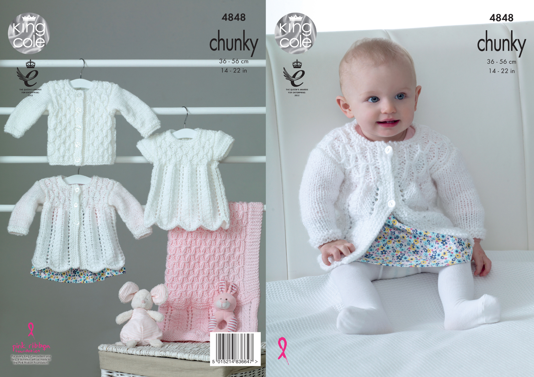 Chunky Knit Cardigan Pattern For Children : Chunky Knitting Pattern King Cole Baby Matinee Coat Top Cardigan & Blanke...