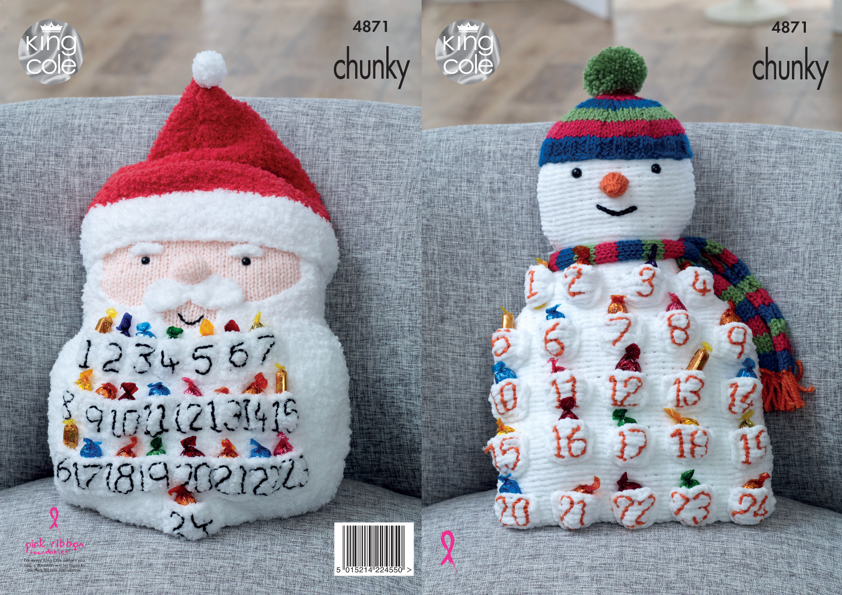 Snowman Cushion Knitting Pattern : Knitting Pattern Snowman Santa Advent Calendar Cushion King Cole Christmas 48...
