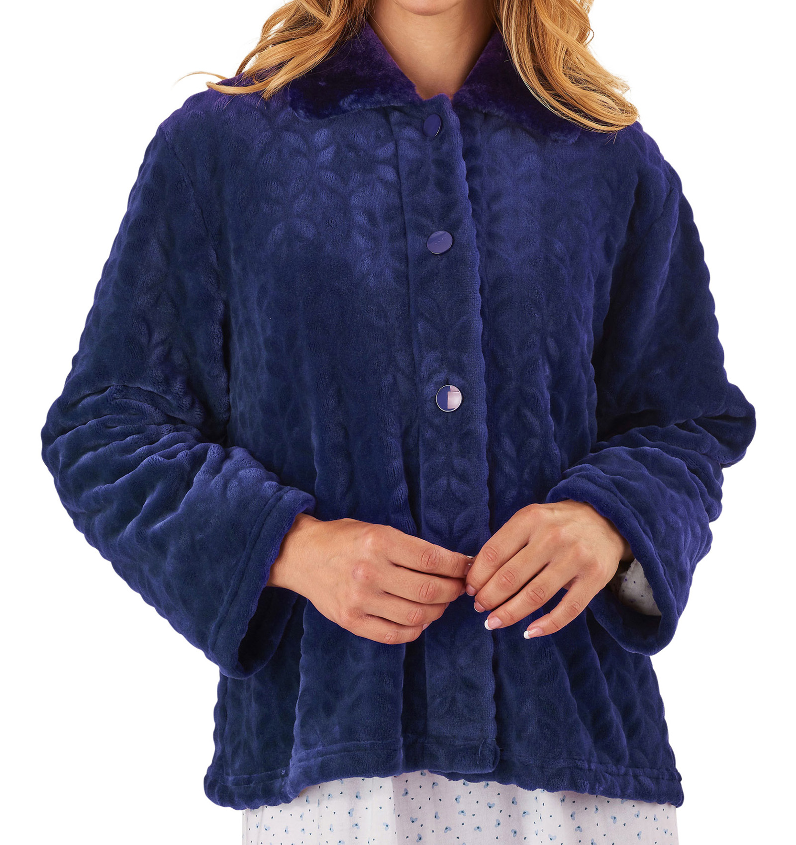 Bed Jacket Slenderella Womens Button Up Super Soft Faux ...