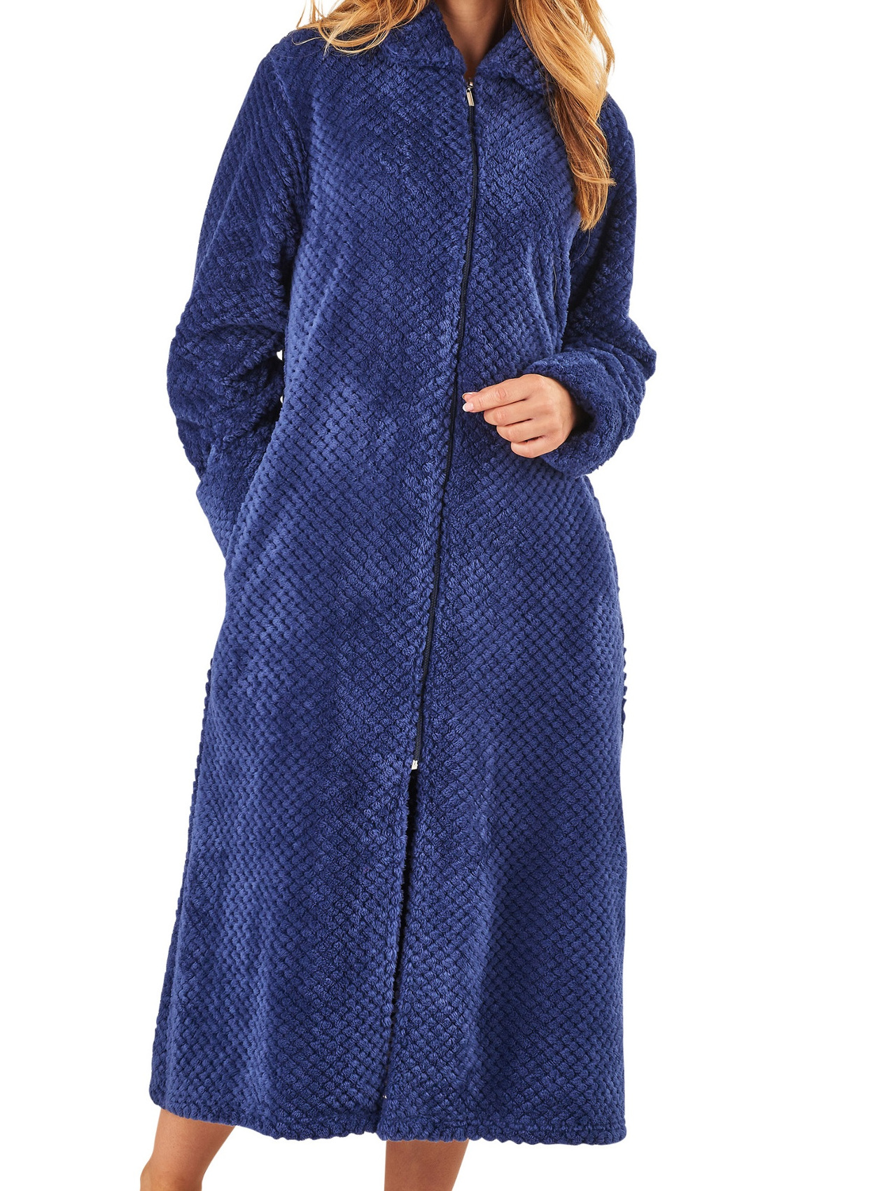 Dressing Gown Ladies Zip Up Soft Waffle Fleece Slenderella Nightwear Bath Robe