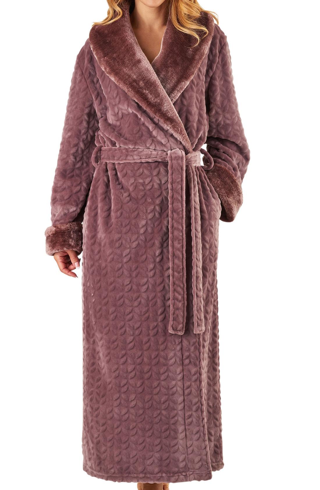 Slenderella Ladies Faux Fur Hooded Dressing Gown Soft Shawl Collar Bath Robe
