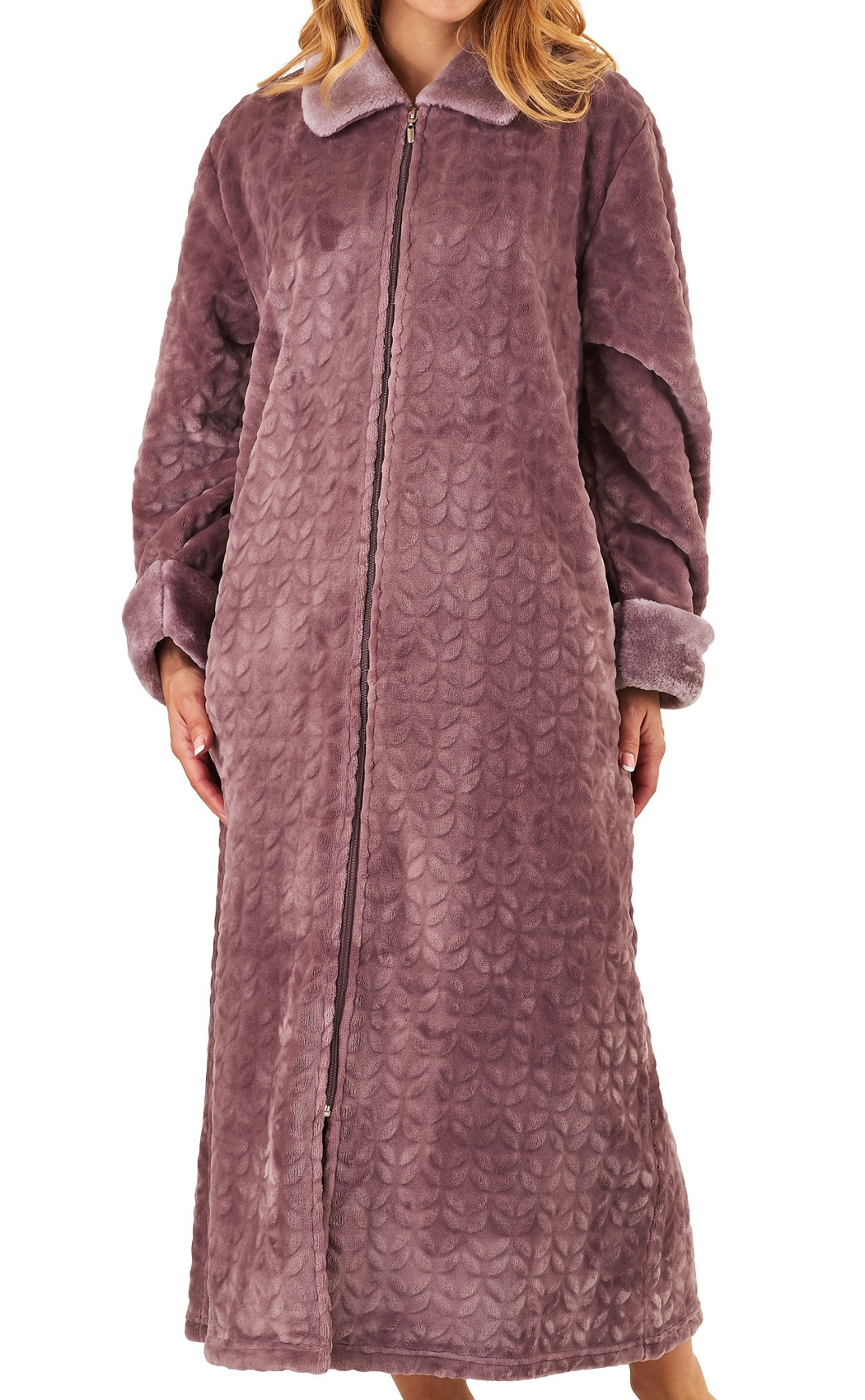 Dressing Gown Womens Soft Faux Fur Zip Up Bathrobe Slenderella ...