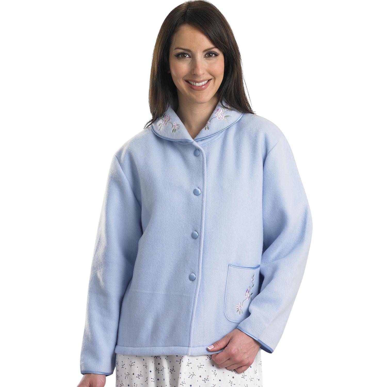 Slenderella Ladies Polar Fleece Button Up Bed Jacket Floral Satin ...