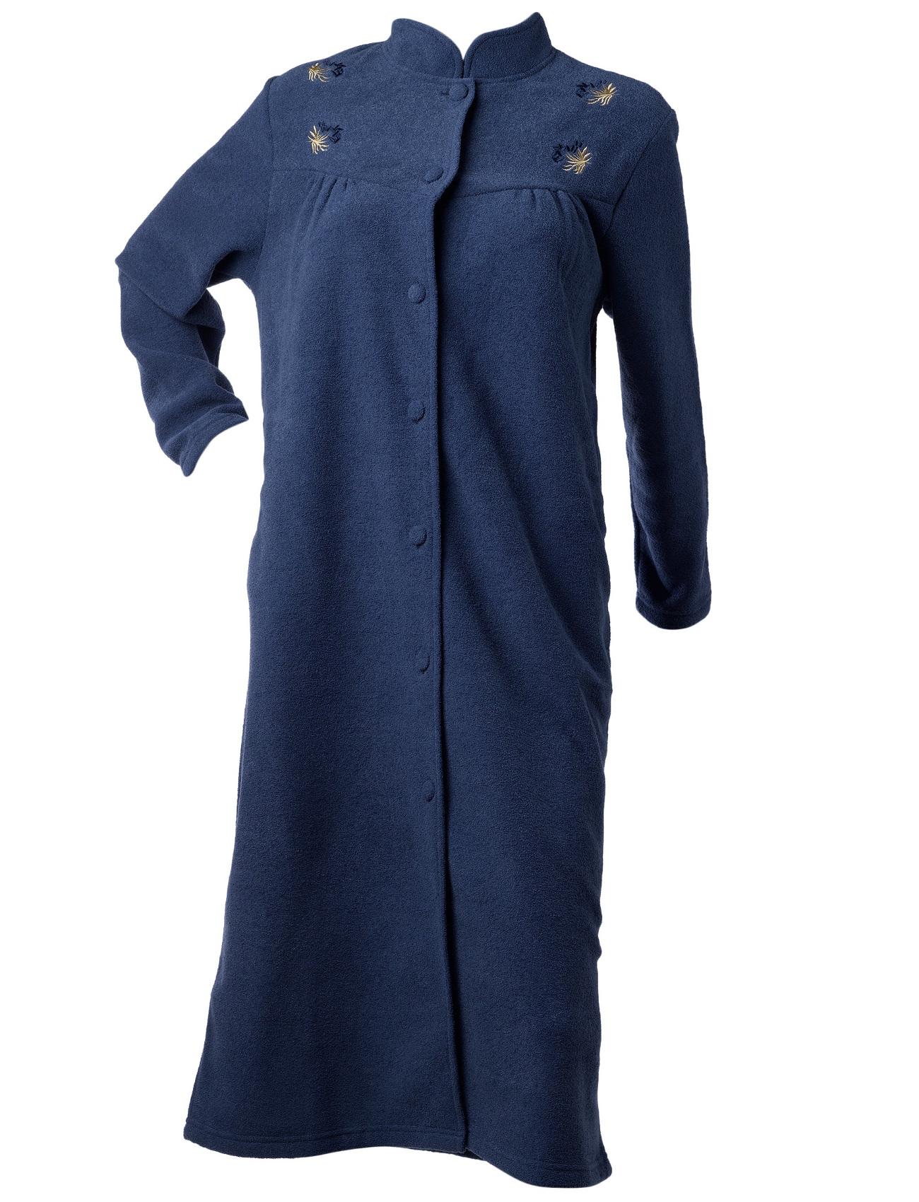 Dressing Gown Womens Button Up Anti Pill Terry Fleece House Coat Flower Bathrobe