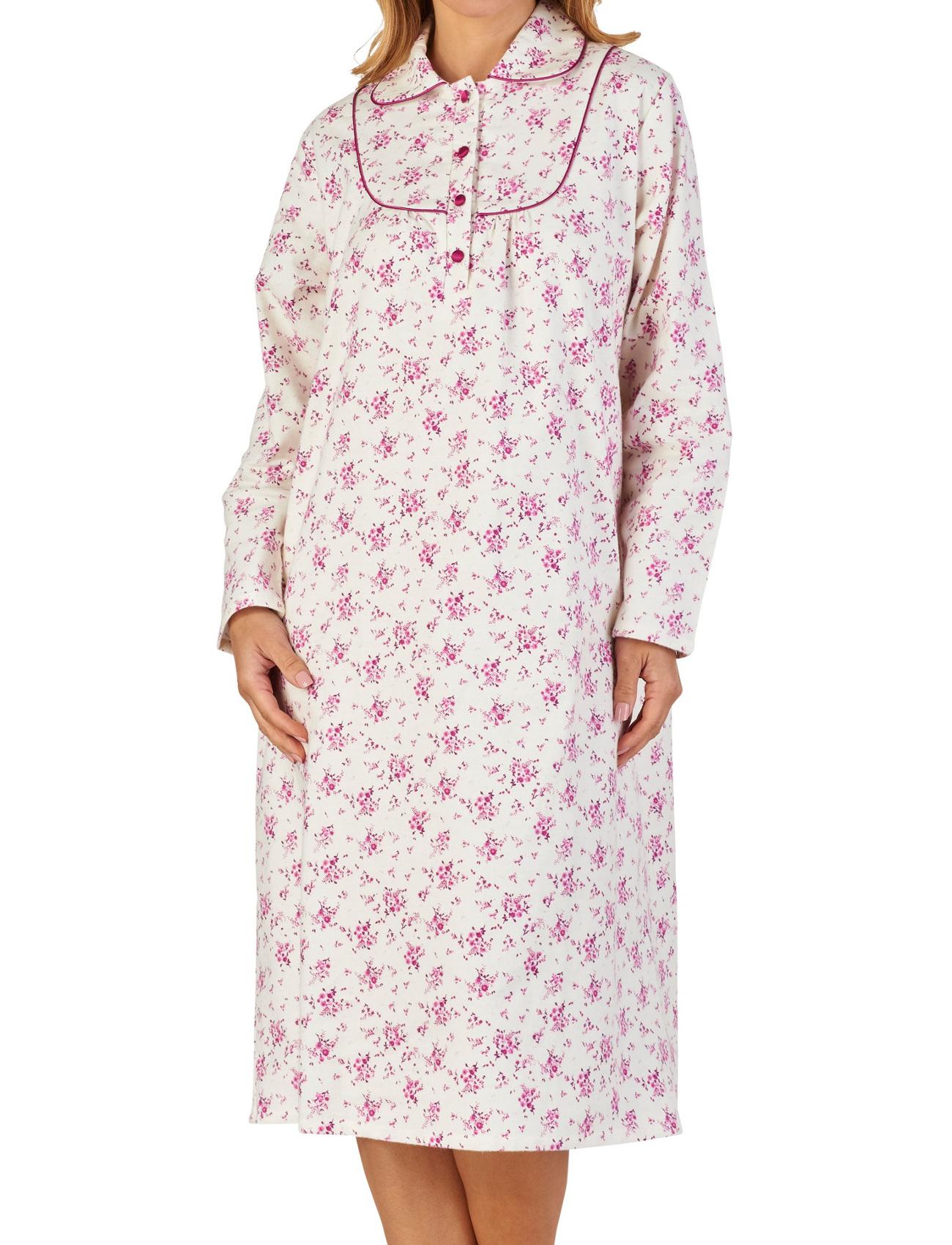 Chemise de nuit Femme Peter Pan Col Floral Winceyette Coton Nuisette Slenderella