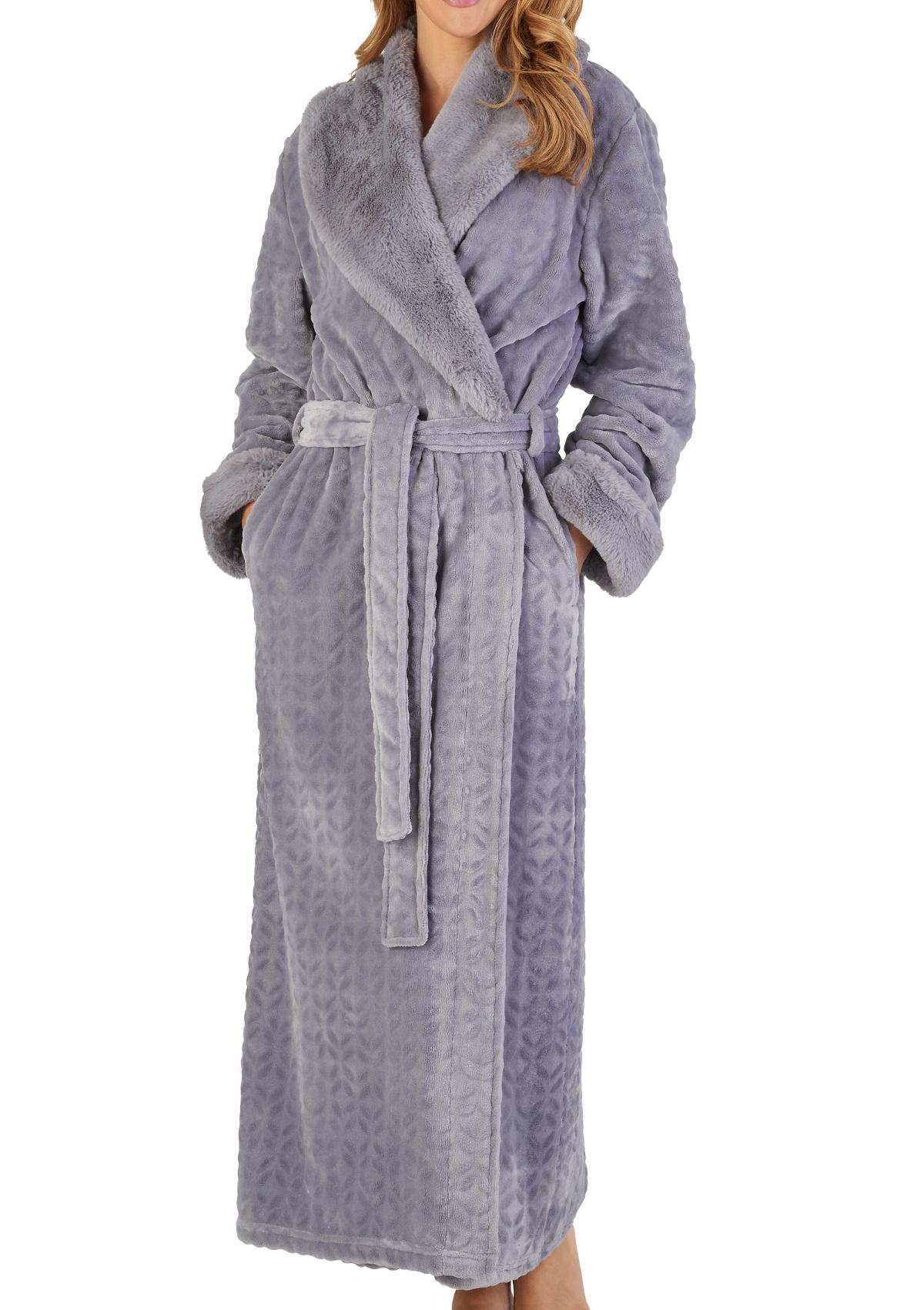Dressing Gown Ladies Bathrobe Faux Fur Shawl Collar Wrap Bathrobe Slenderella