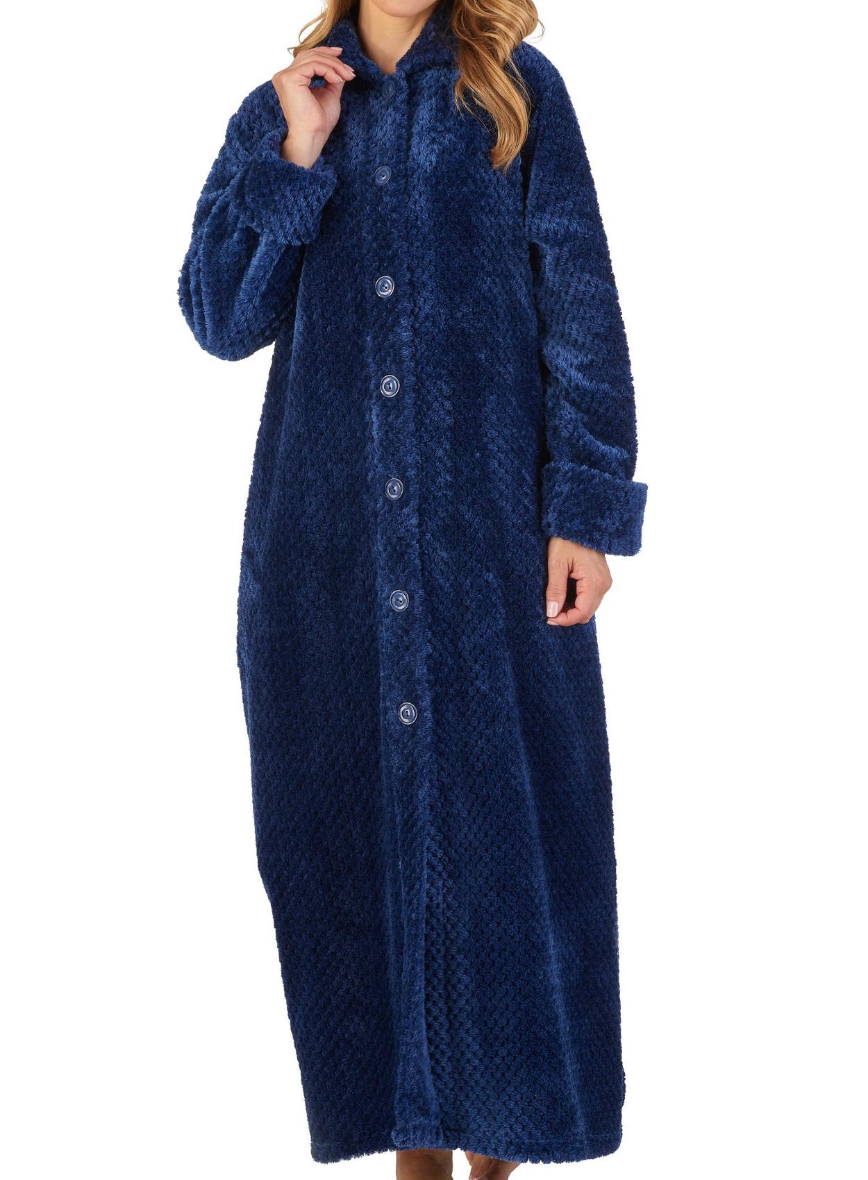Dressing Gown Ladies Button Up Waffle Flannel Fleece Slenderella Nightwear Robe