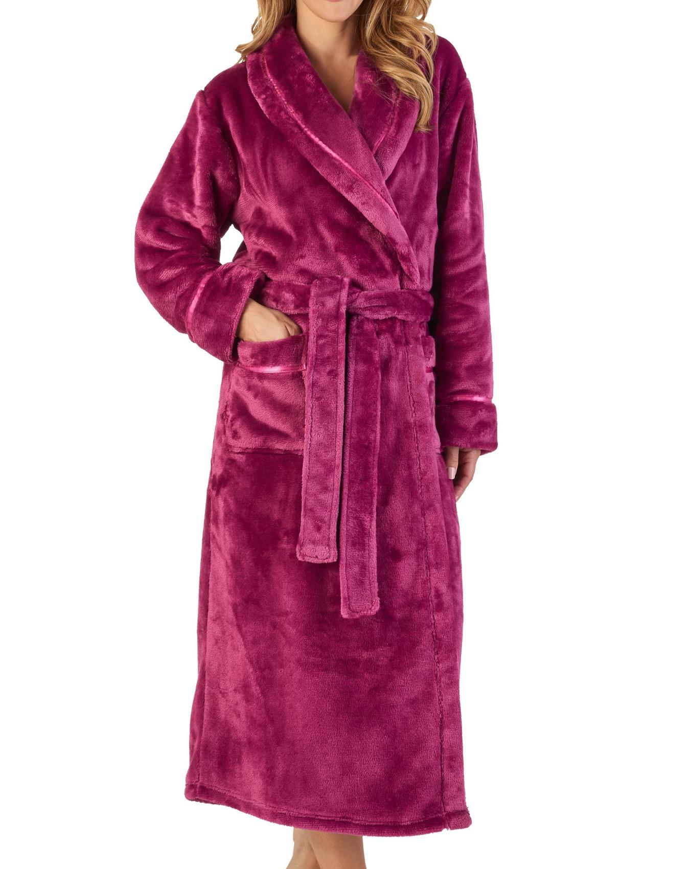 Slenderella Womens Luxury Thick Flannel Fleece Dressing Gown Shawl Collar Robe