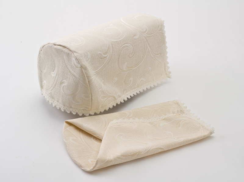 Pair of decorative chair settee arm cap covers cream ebay for Decorative furniture covers