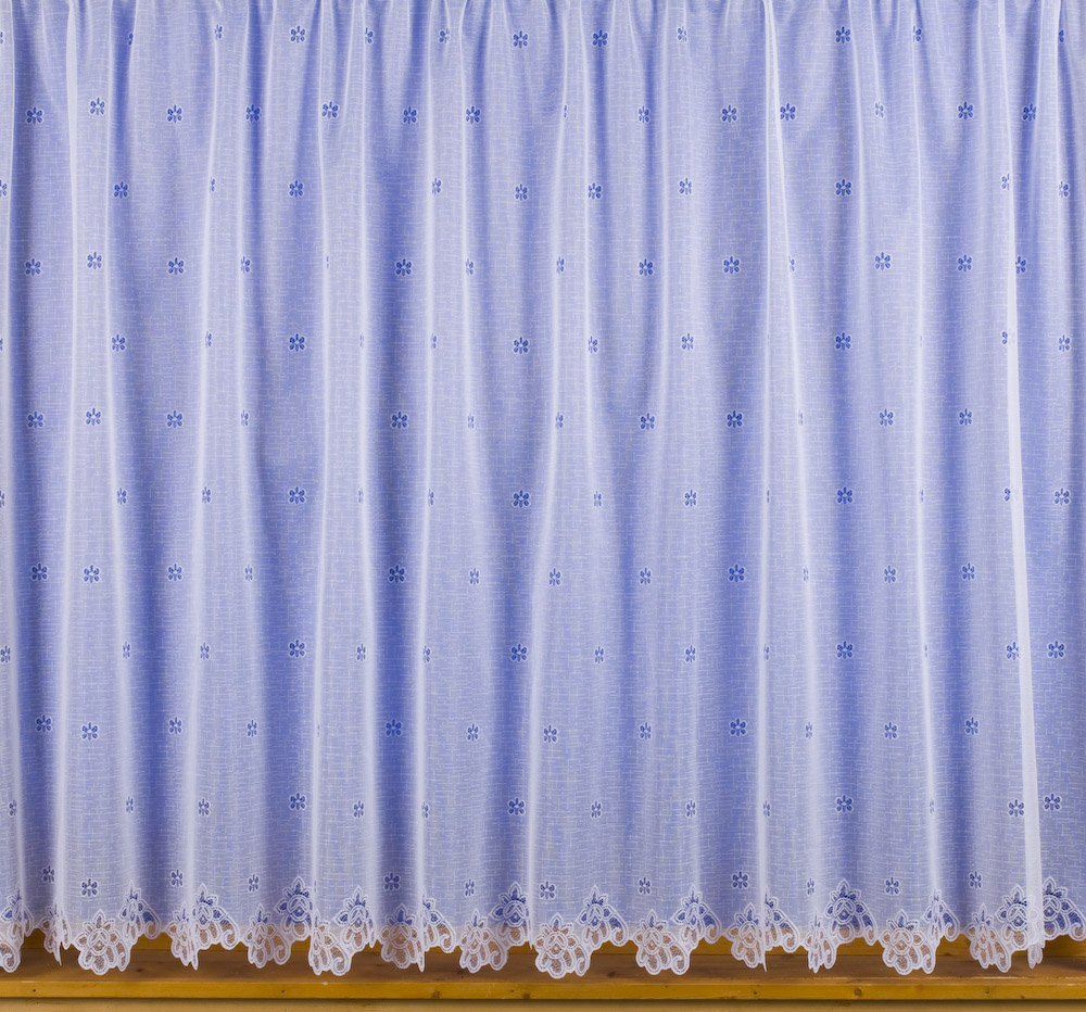 Image Is Loading Small Flower Net Curtains White Choose Drop Sizes