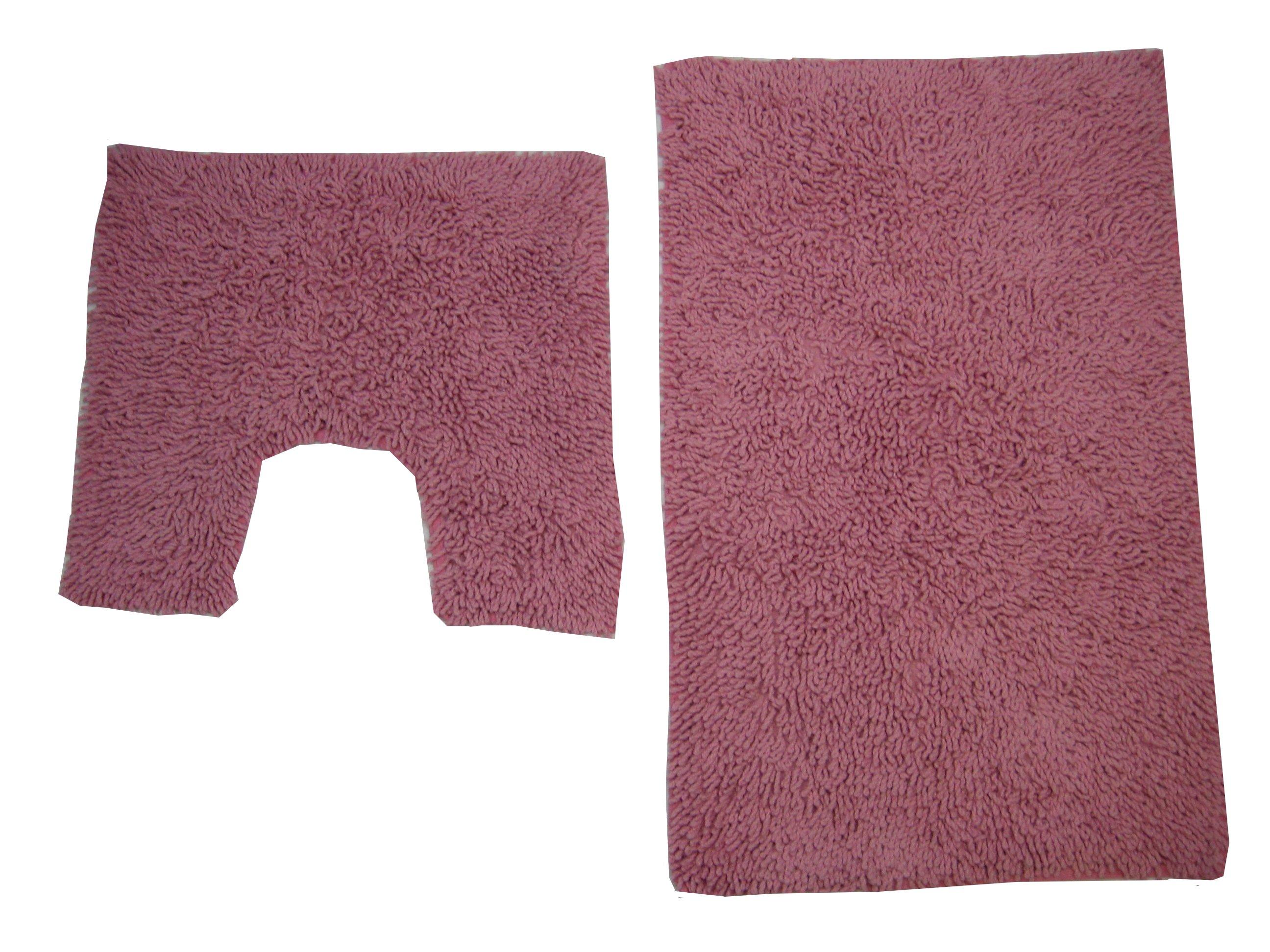 Bath Mat Pedestal Rug Set Cotton Tumble Twist Pink Ebay