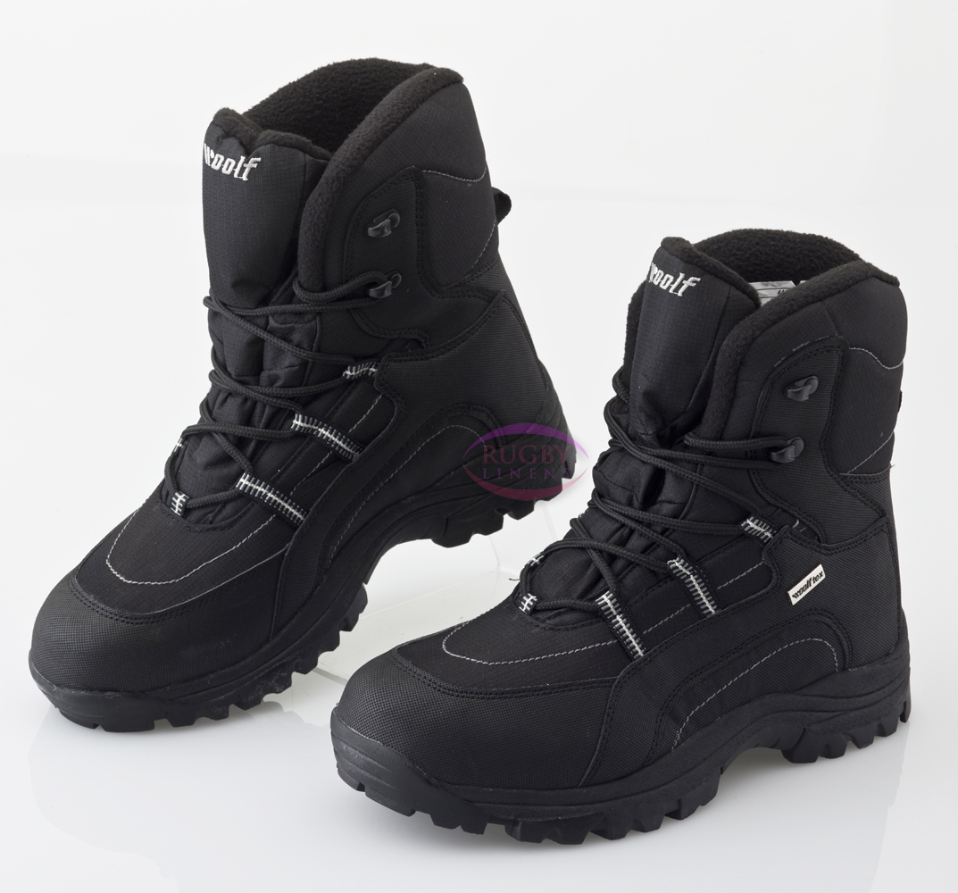 mens woolf winter snow boots black sizes 3 11 ebay