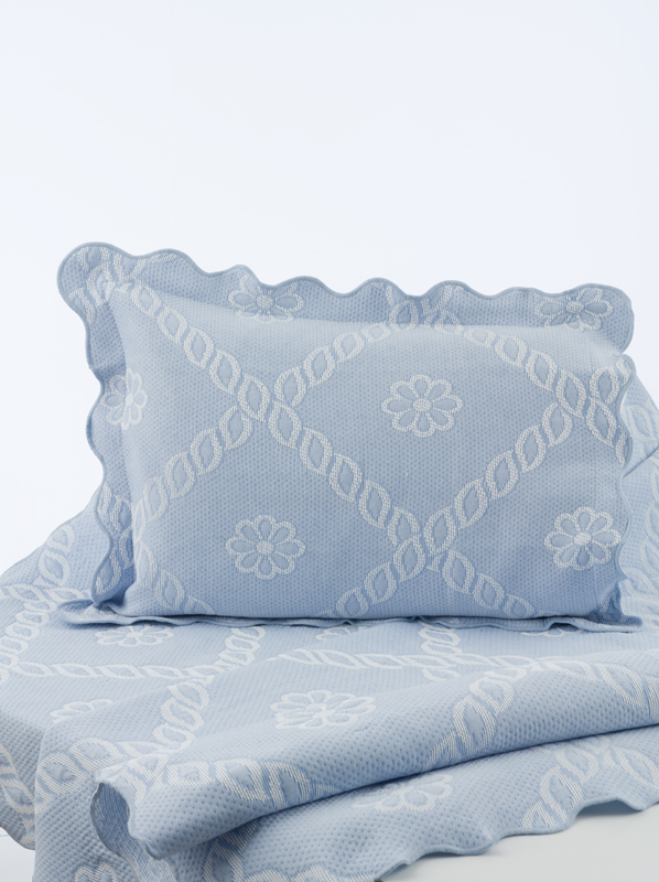 Decorative Bedspread Bed Throw Floral King Size Blue