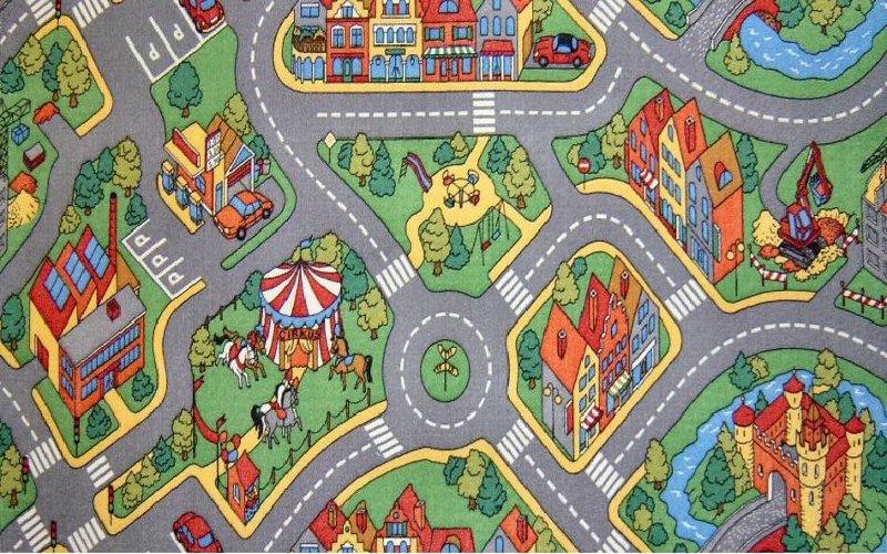 Childrens Play Rug Mat City Roads Non Slip Backing