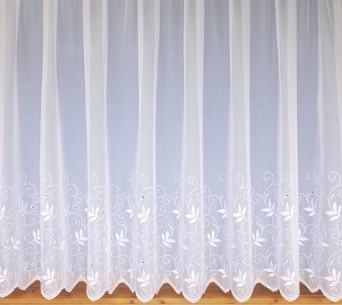 Trailing Leaf Design Net Voile Curtains White Choose