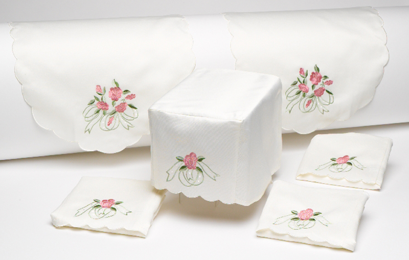 antimacassar set embroidered arm caps chair back sofa