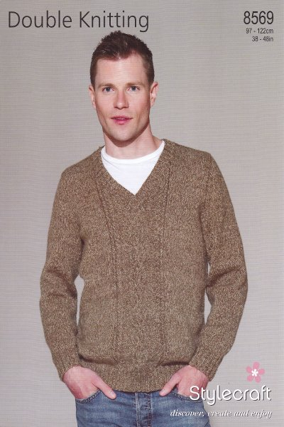 Double Knitting Hoodie Pattern : Mens DK Pattern for Sweater Double Knitting Long Sleeved V ...