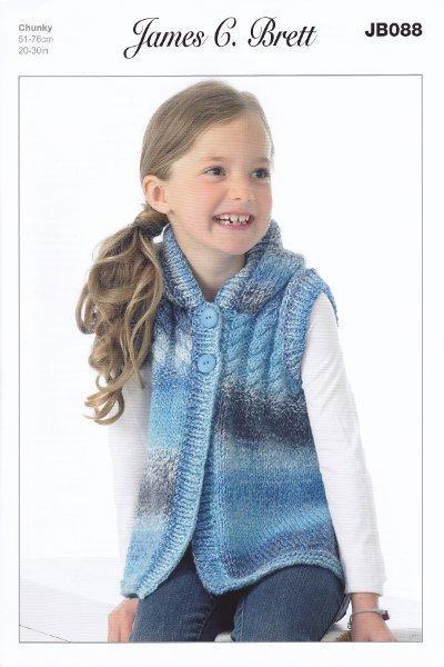 Childrens Chunky Knitting Pattern Sleeveless Hooded Waistcoat James Brett JB0...