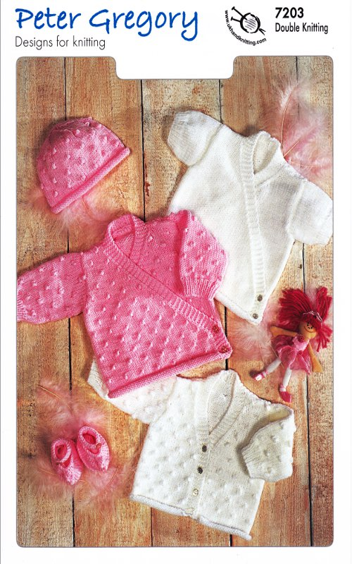 Scarves Knitting Patterns Free : Peter Gregory Baby Double Knit Pattern Long Sleeved Cardigans Hat Slippers 72...