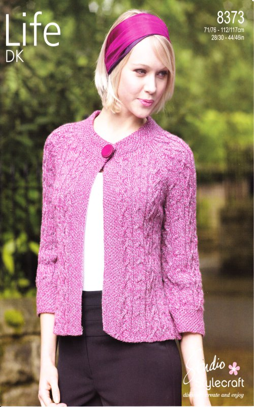 Women s Cardigan Knitting Pattern : Womens Double Knitting Pattern Stylecraft Ladies Cardigan Cable Knit 8373 New...