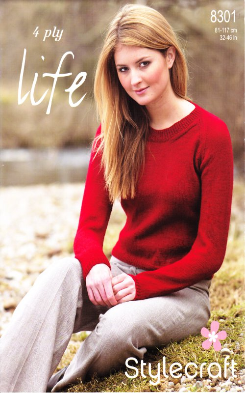 4 Ply Knitting Patterns Free Ladies : Womens 4 Ply Knitting Pattern Sweater Jumper Ribbed Detail 8301 Stylecraft Li...