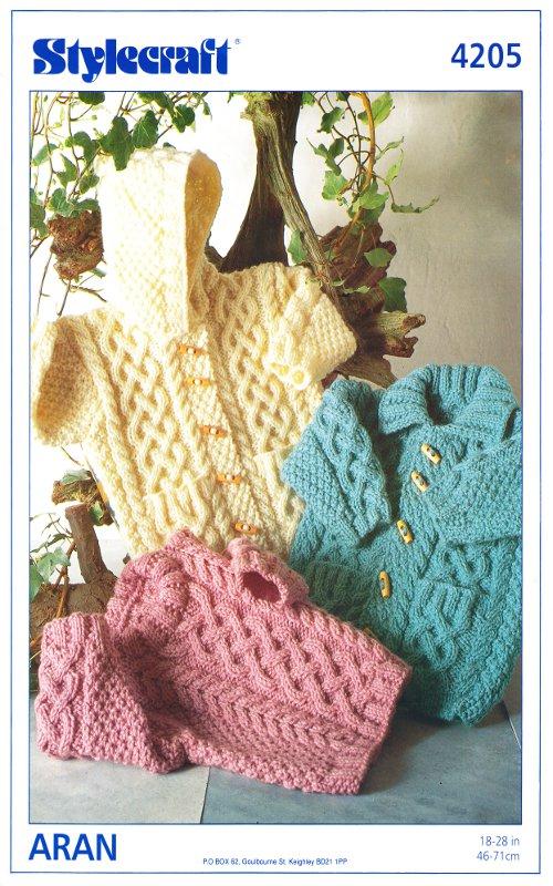 Knitting Patterns For Baby Aran : Baby Aran Knitting Pattern Duffle Jackets & Sweater/Jumper Stylecraft 420...