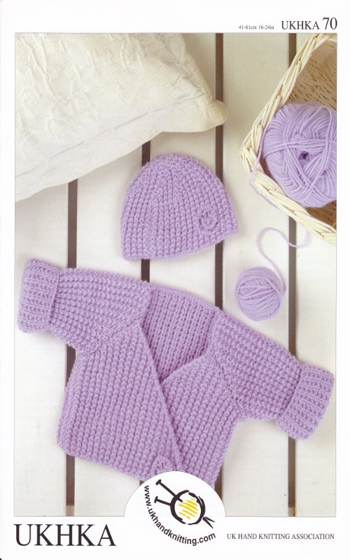 Knitting Pattern Baby Wrap Cardigan : Kids Double Knitting DK Pattern Baby Long Sleeved Wrap Cardigan Hat UKHKA 70