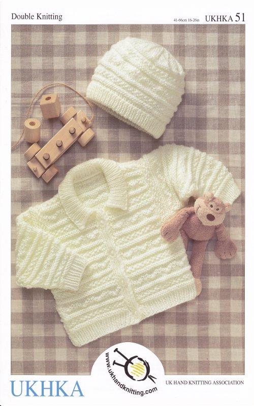 Knitting Pattern Baby Hat Double Knitting : Double Knitting DK Pattern Baby Long Sleeved Jacket Hat Ribbed Detail UKHKA 5...