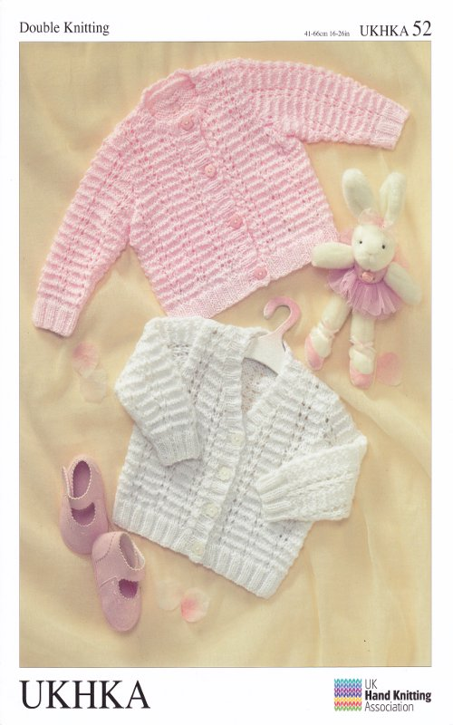 Knitting Patterns For Babies Double Knitting : Double Knitting Pattern Baby DK Long Sleeved Cardigans Ribbed Detail UKHKA 52