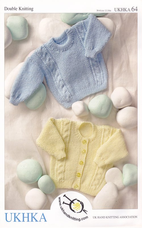 Knitting Pattern For Newborn Jumper : Baby Double Knitting Pattern Long Sleeved Cable Knit Cardigan Sweater UKHKA 6...