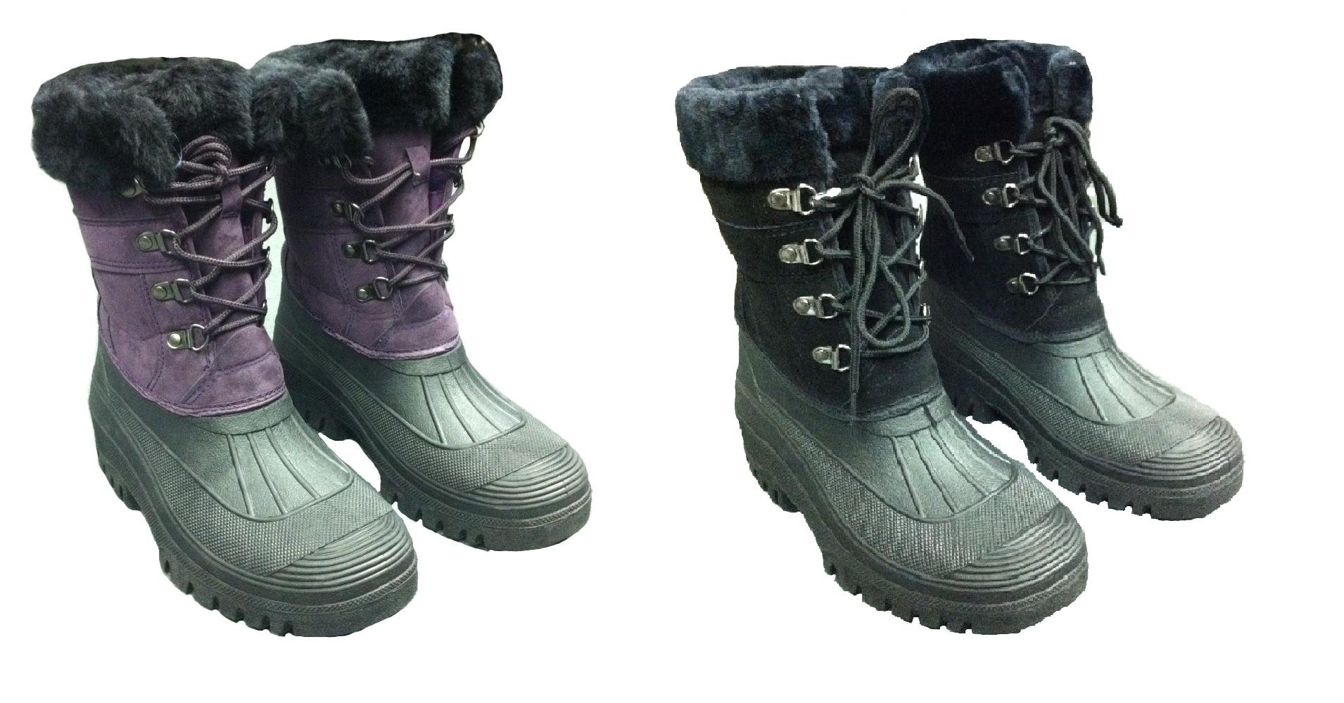 Ladies Fleece Lined Lace Up Muckers Girls Equestrian Stable Boots ...