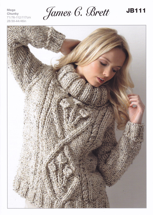 Knitting Pattern Roll Neck Jumper : Mega Chunky Knitting Pattern Ladies Roll Neck Jumper Sweater James Brett JB11...