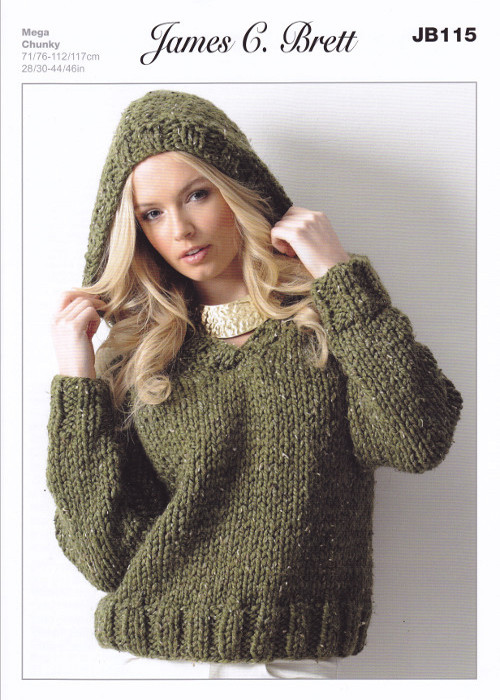 Chunky Knit Jumper Pattern : Ladies Chunky V Neck Jumper Hooded Sweater Knitting Pattern James Brett JB115