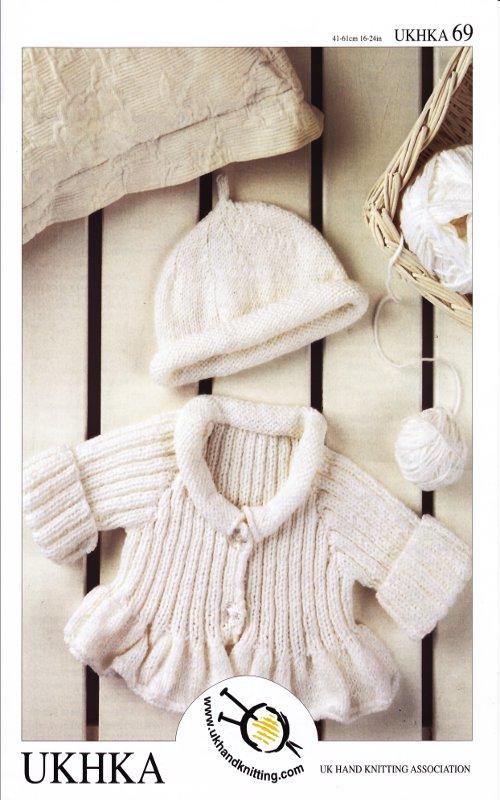 Ukhka 69 Childrens Kids Double Knitting Pattern Baby DK Frilled Cardigan Hat ...