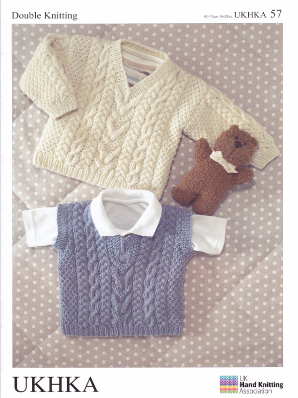 Knitting Patterns For Babies Double Knitting : UKHKA 57 Childrens Double Knitting Pattern Baby DK Sleeveless Sweater 16-28&q...