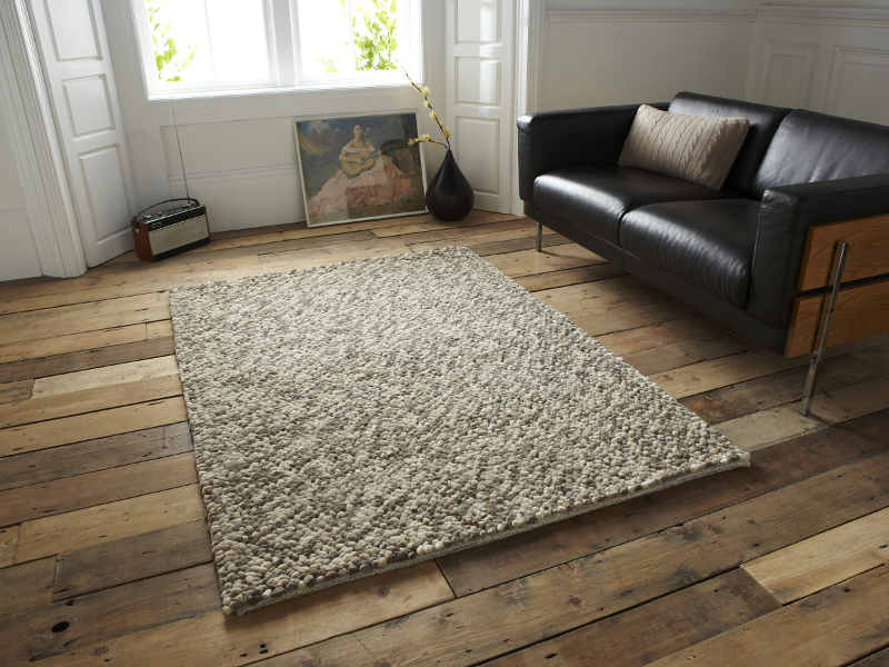Pebbles Effect Hand Knotted Large Floor Mat 100 Wool Soft