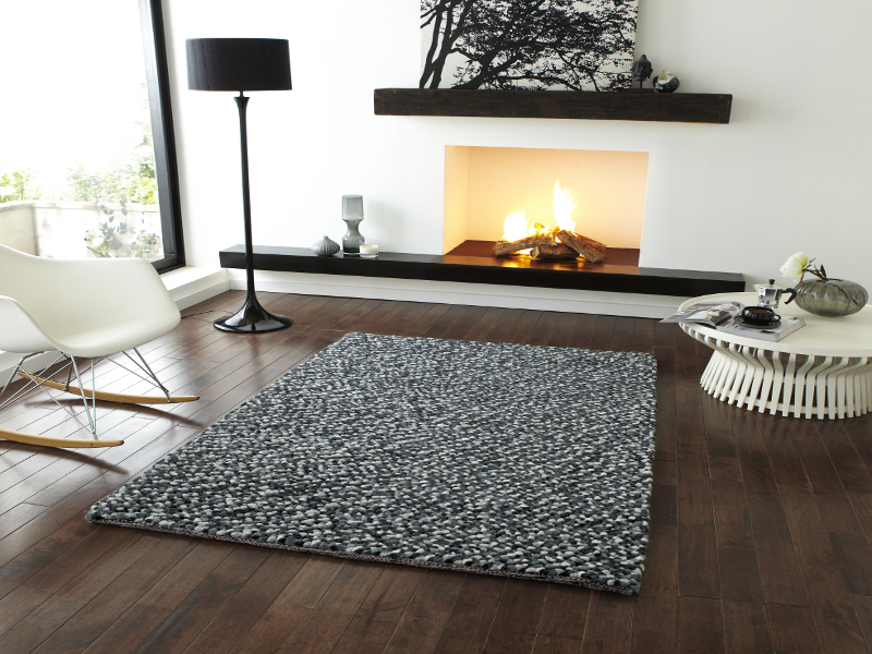 Pebbles Effect Hand Knotted Large Floor Mat 100