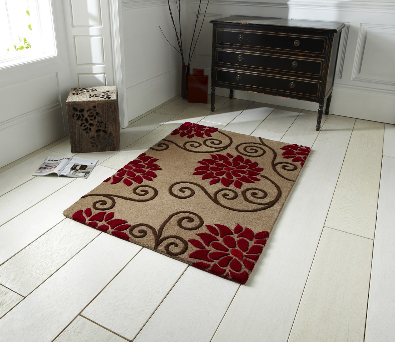 Rosetta Floral 100 Wool Rug Hand Tufted Vibrant Carpet