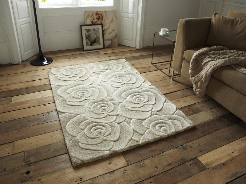 Floral Design Hand Tufted 100% Wool Rug Large 3D Rose ...