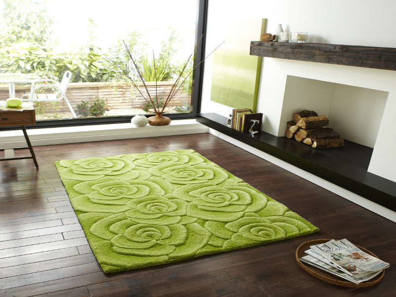 Floral Design Hand Tufted 100 Wool Rug Large 3d Rose