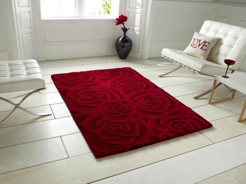 Hand Tufted Soft 100 Wool Floral Carpet Rug Rose Design
