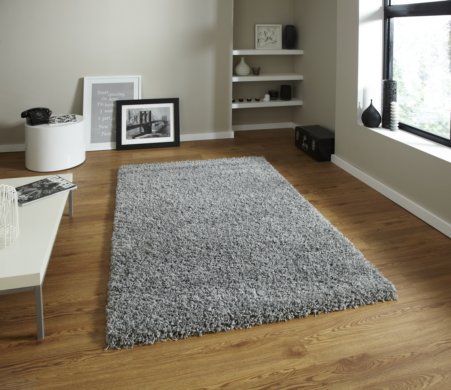 moderne uni shaggy 5 cm pile tapis vista machine fait grand moelleux tapis home decor ebay. Black Bedroom Furniture Sets. Home Design Ideas