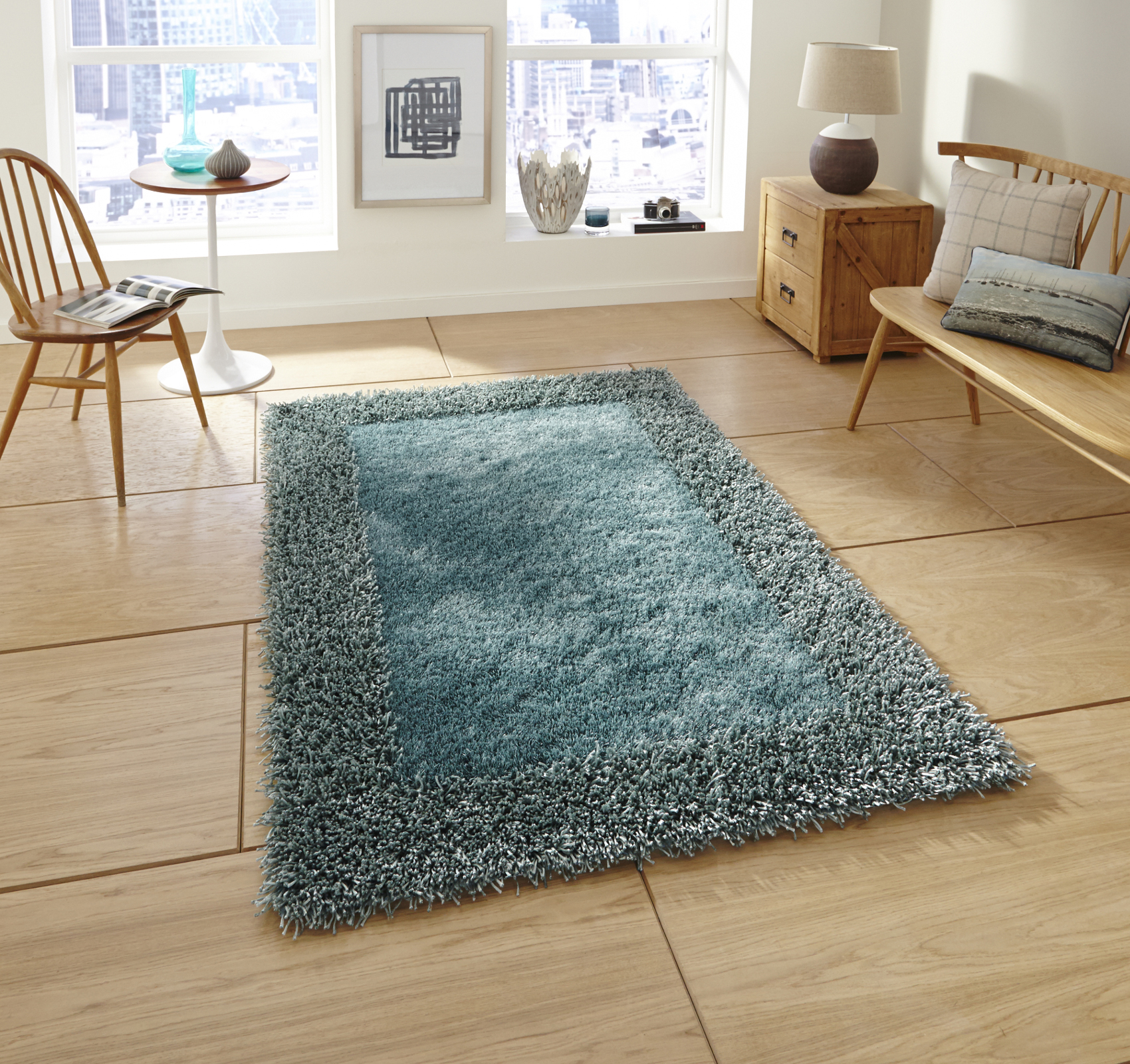 Sable Hand Tufted Thick Border Rug Large Floor