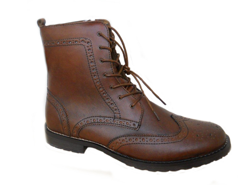 mens genuine leather brogue ankle boots lace up brown ebay